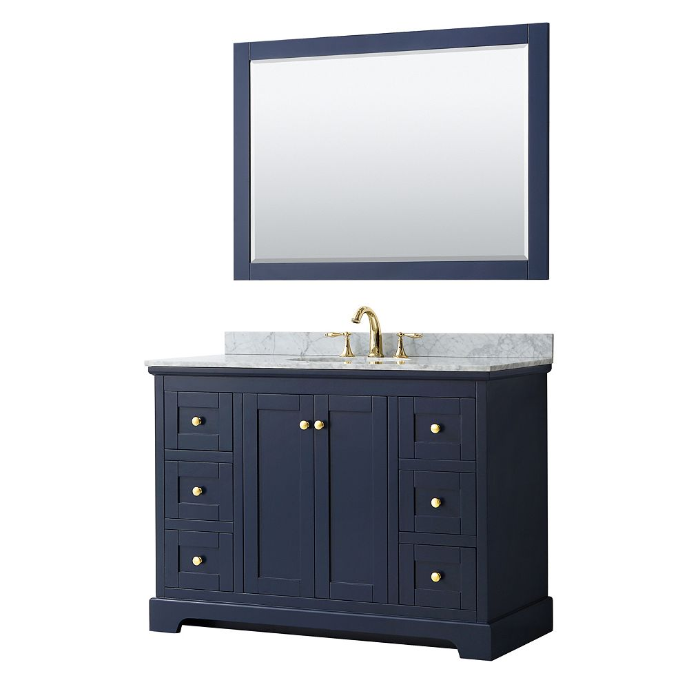 Wyndham Collection Avery 48 Inch Single Vanity in Dark Blue, White Carrara Marble Top, Oval Sink, 46 Inch Mirror