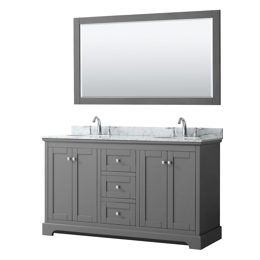 Wyndham Collection Avery 60 Inch Double Vanity in Dark Gray, White Carrara Marble Top, Oval Sinks, 58 Inch Mirror