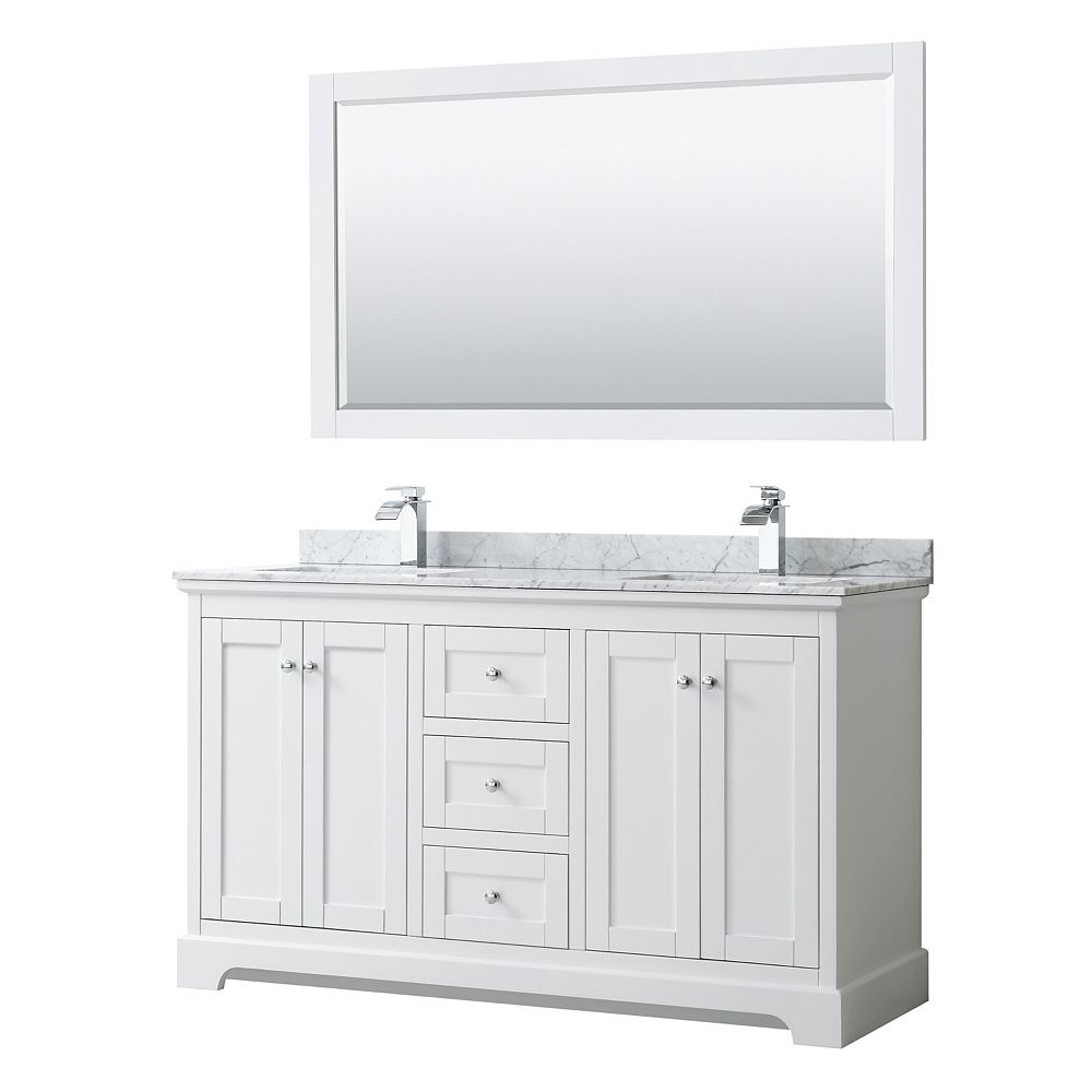 Wyndham Collection Avery 60 Inch Double Vanity in White, White Carrara Marble Top, Square Sinks, 58 Inch Mirror