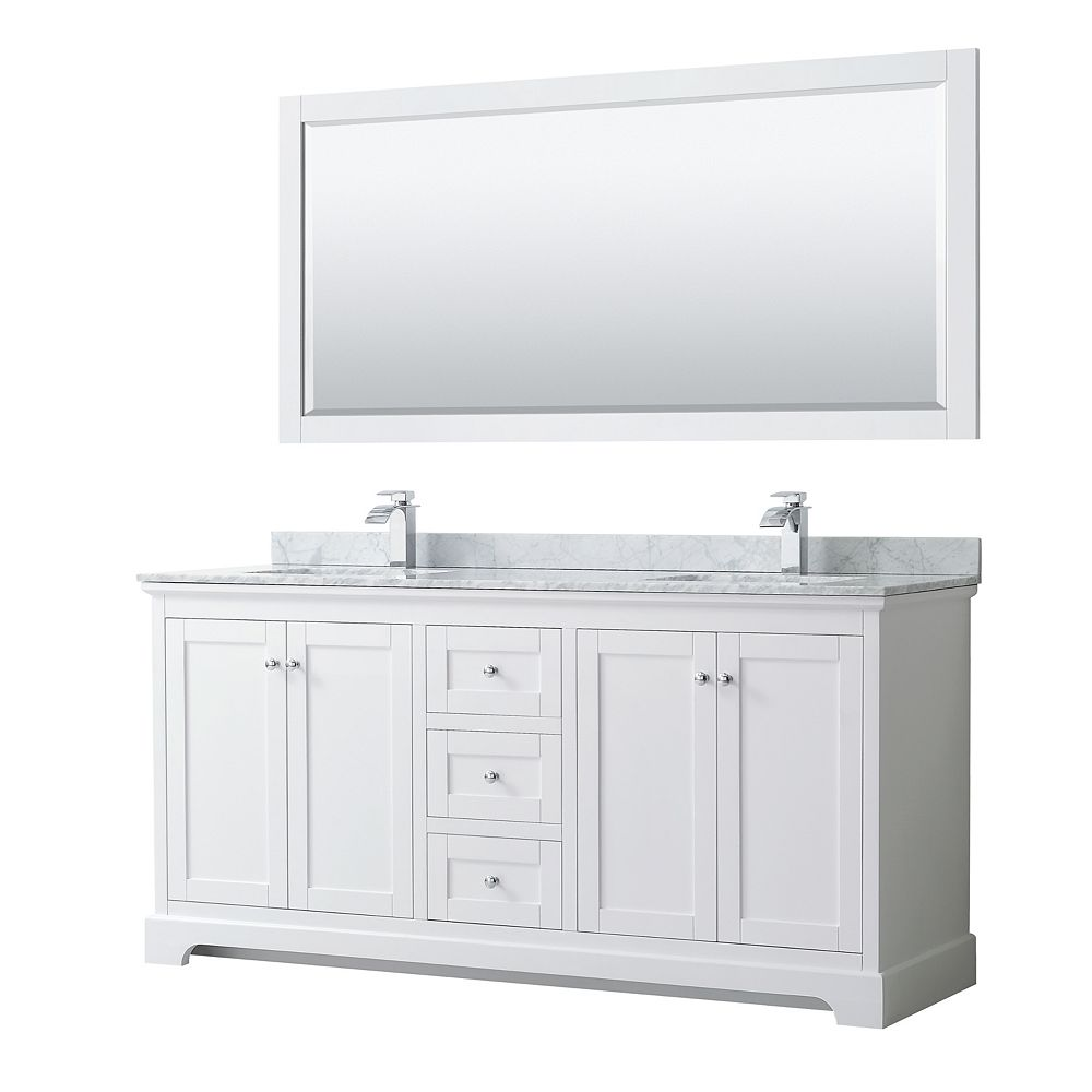 Wyndham Collection Avery 72 Inch Double Vanity in White, White Carrara Marble Top, Square Sinks, 70 Inch Mirror