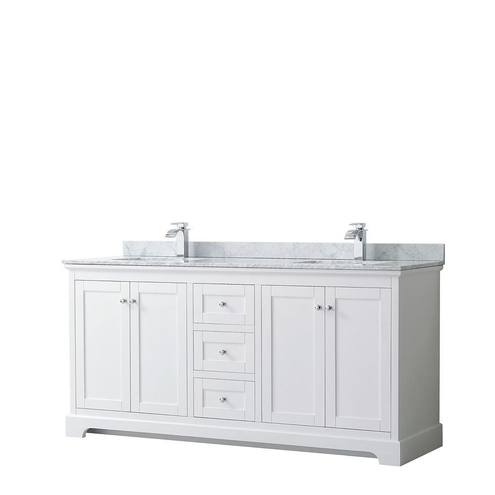 Wyndham Collection Avery 72 Inch Double Vanity in White, White Carrara Marble Top, Square Sinks, No Mirror