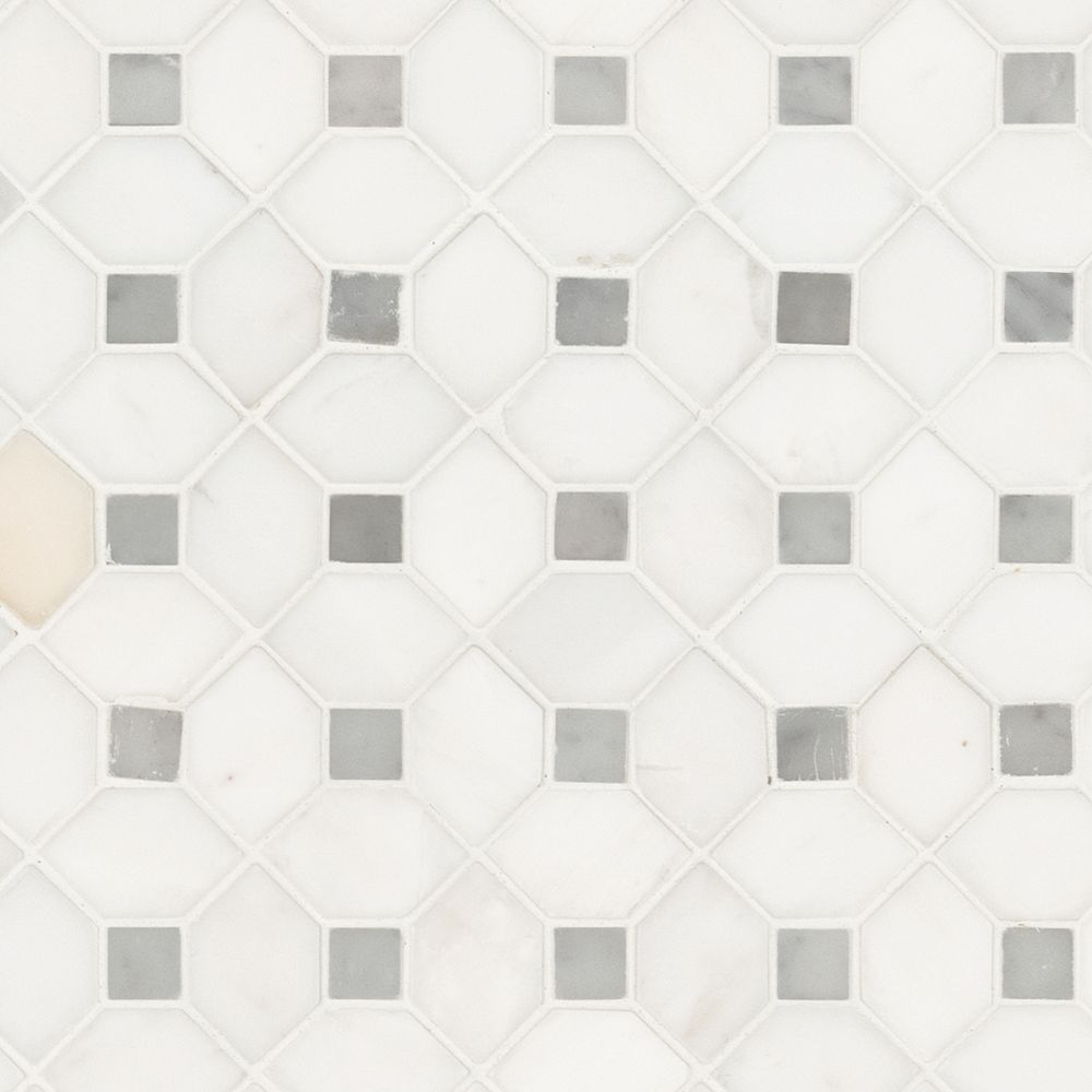 MSI Stone ULC Bianco Dolomite Dotty 12.31-inch x 12.36-inch x 10 mm Polished Marble Mesh-Mounted Mosaic Tile