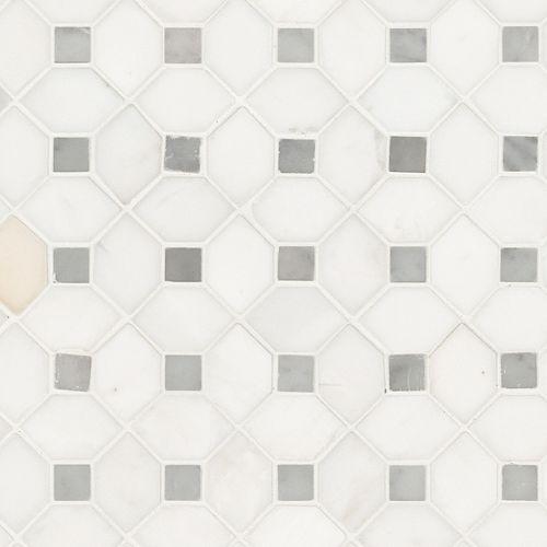 MSI Stone ULC Bianco Dolomite Dotty 12.31-inch x 12.36-inch x 10 mm Polished Marble Mesh-Mounted Mosaic Tile
