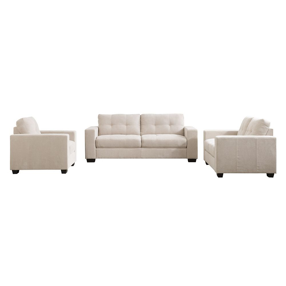 Corliving 3-Piece Tufted Seat and Backrest Beige Chenille Fabric Sofa Set