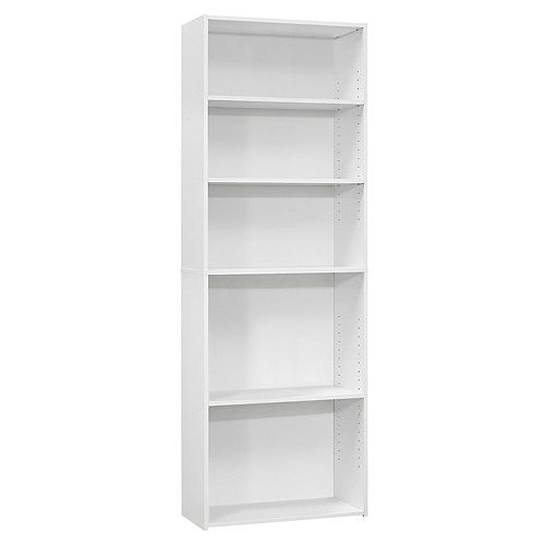 Bookcase - 72 Inch H / White With 5 Shelves
