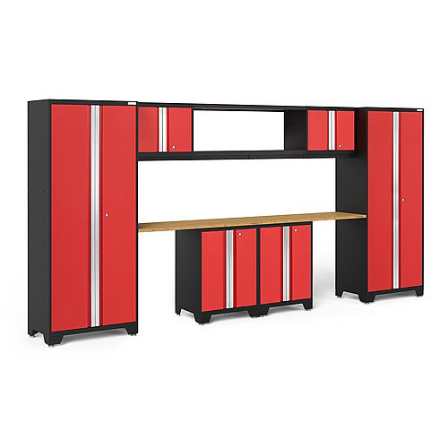 Bold Series Red Garage Cabinet Set with 48-Inch Integrated Shelf (9-Piece)