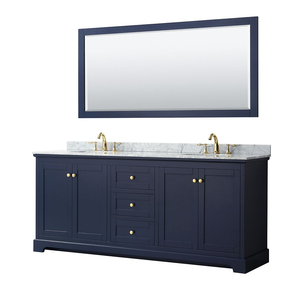Wyndham Collection Avery 80 Inch Double Vanity in Dark Blue, White Carrara Marble Top, Oval Sinks, 70 Inch Mirror