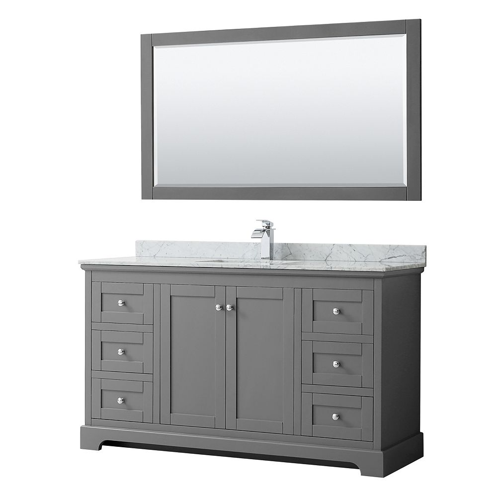 Wyndham Collection Avery 60 Inch Single Vanity in Dark Gray, White Carrara Marble Top, Square Sink, 58 Inch Mirror