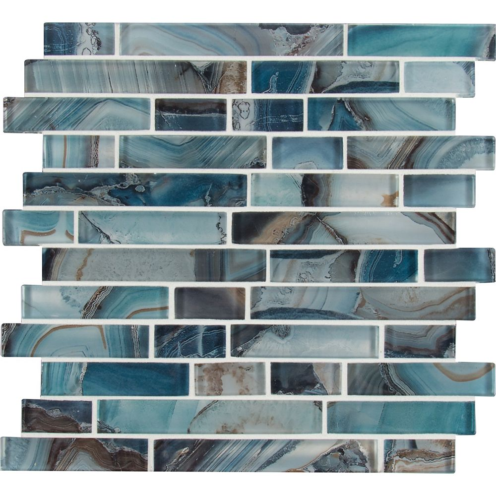 MSI Stone ULC Night Sky Interlocking 11.81-inch x 11.81-inch x 8mm Glass Mesh-Mounted Mosaic Tile