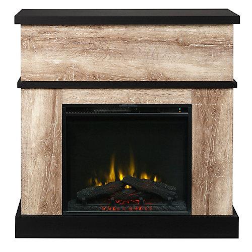 Sarah Electric Fireplace Mantel by C3, Distressed Oak