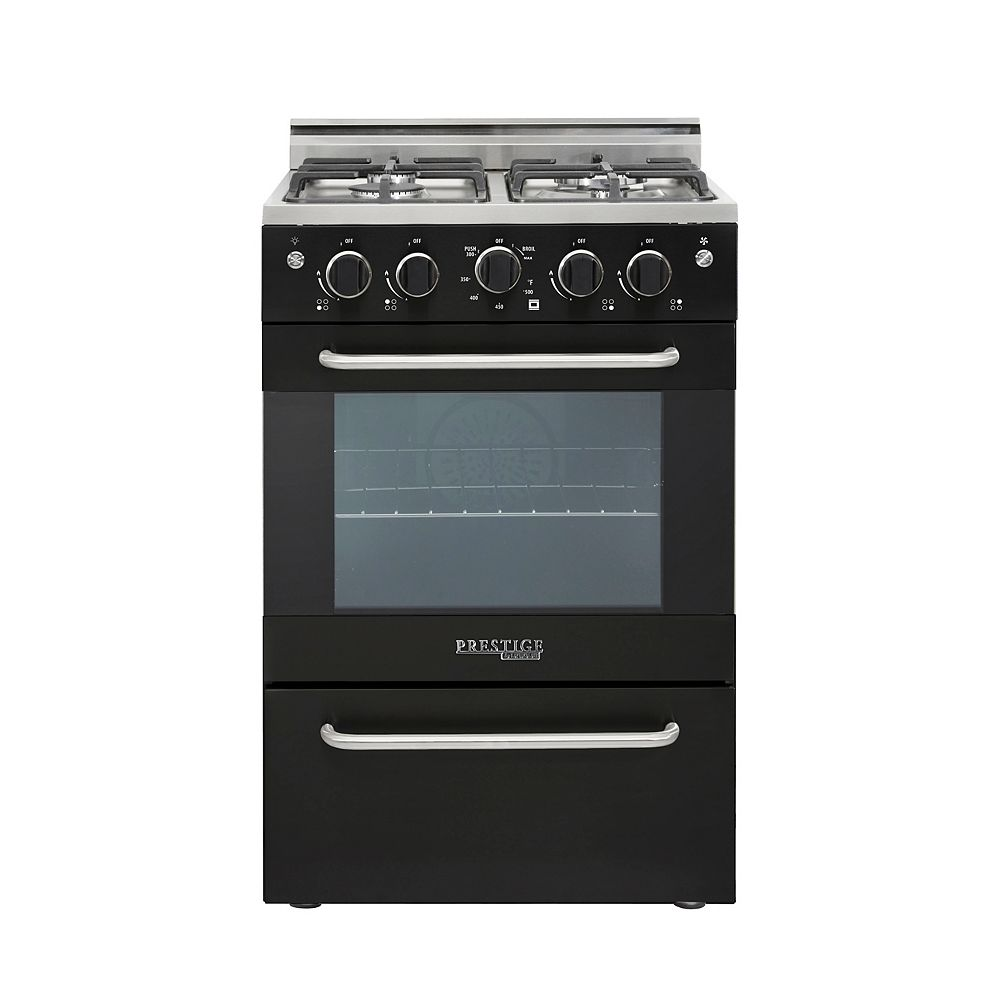 Unique Prestige 24-inch 2.3 cu. ft. Gas Convection Range Sealed Burners in Black