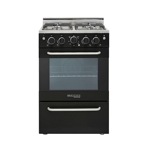 24-inch 2.3 cu. ft. Gas Convection Range Sealed Burners in Black
