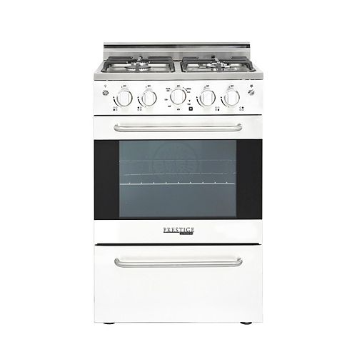 24-inch 2.3 cu. ft. Gas Convection Range Sealed Burners in White