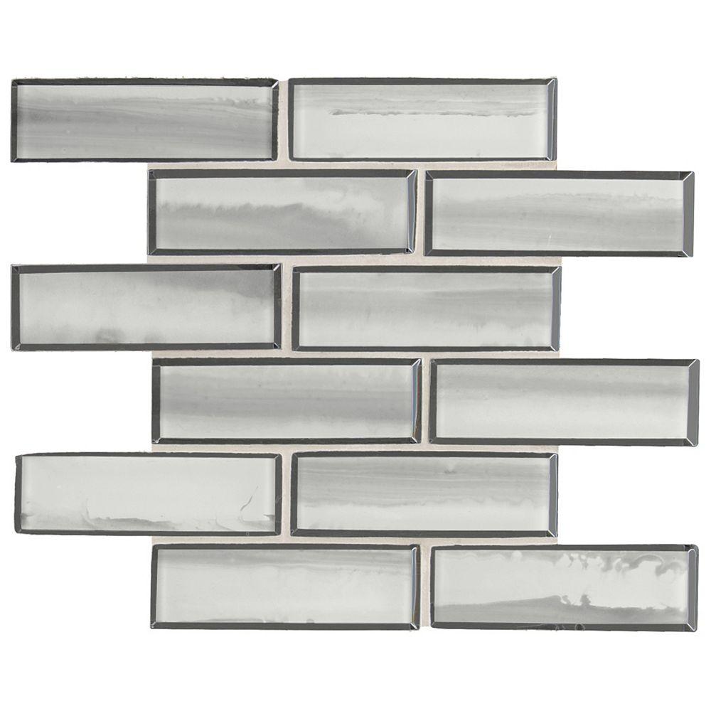 MSI Stone ULC Carreau de mosaïque Ombre Grigio 11,73 pouces x 11,73 pouces x 8 mm monté sur filet de verre