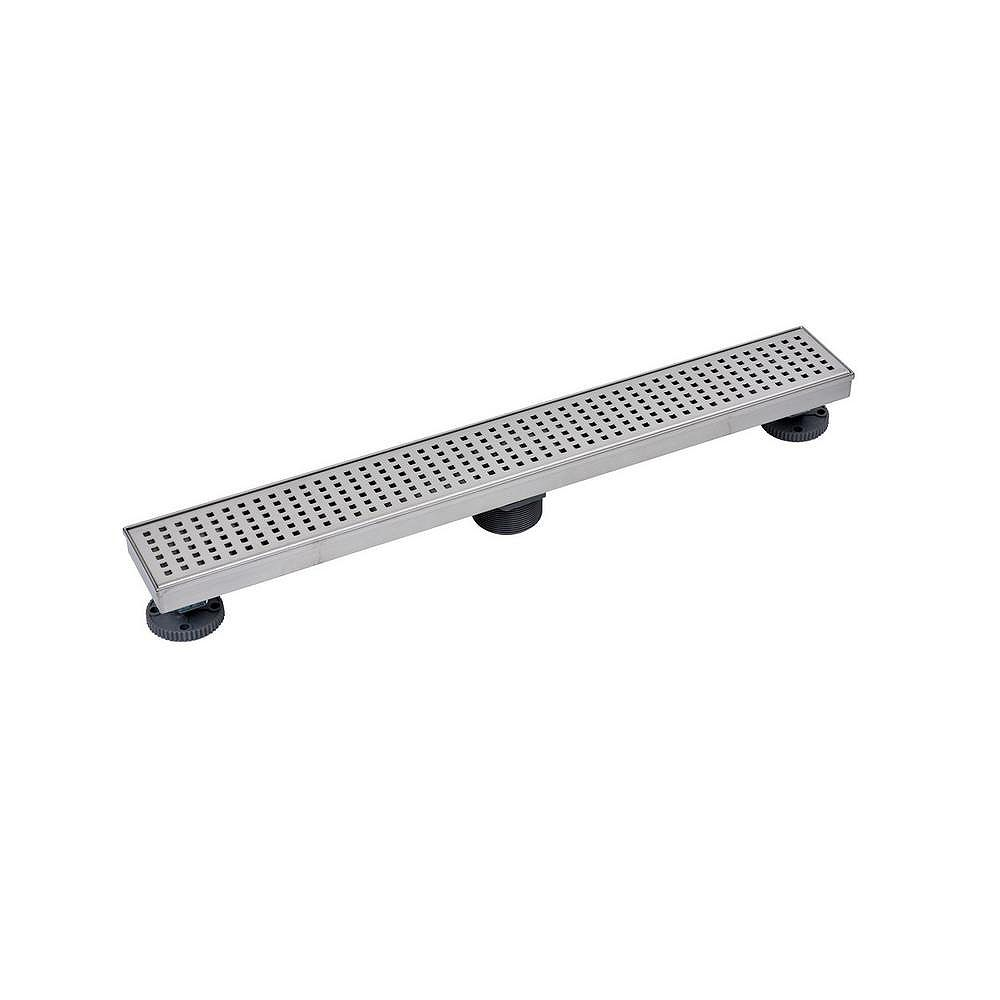 Oatey Designline 24 in. Stainless Steel Linear Shower Drain with Square Pattern Drain Cover