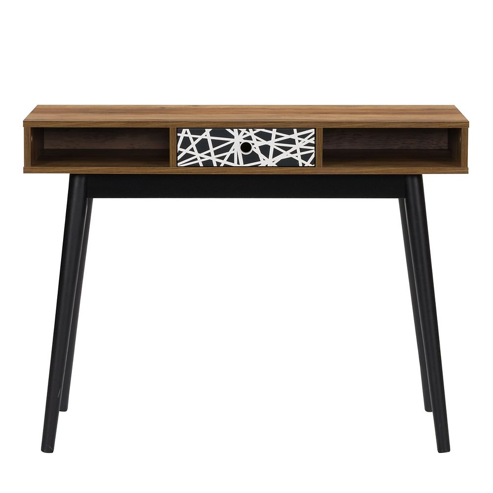 Corliving Entryway Table or Desk with Abstract-Pattern Drawer and Cubbies, Brown and Black Duotone