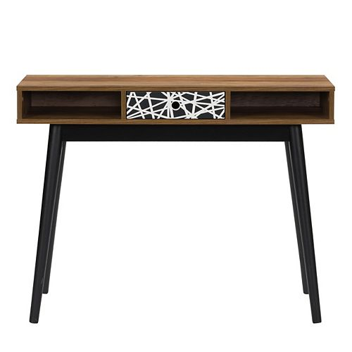 Entryway Table or Desk with Abstract-Pattern Drawer and Cubbies, Brown and Black Duotone