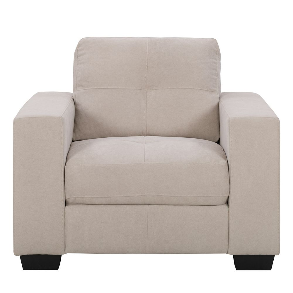 Corliving Fauteuil en tissu chenille beige avec assise et dossier capitonné