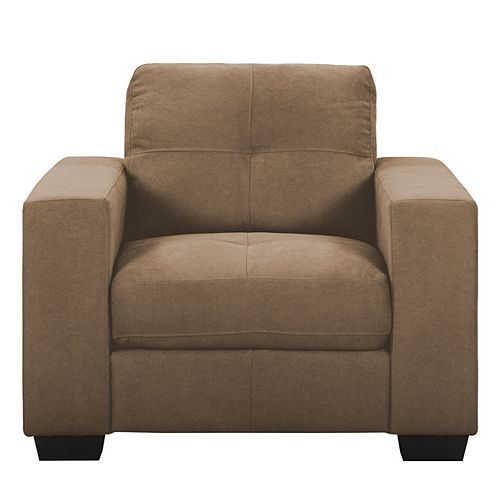 Tufted Seat and Backrest Brown Chenille Fabric Chair