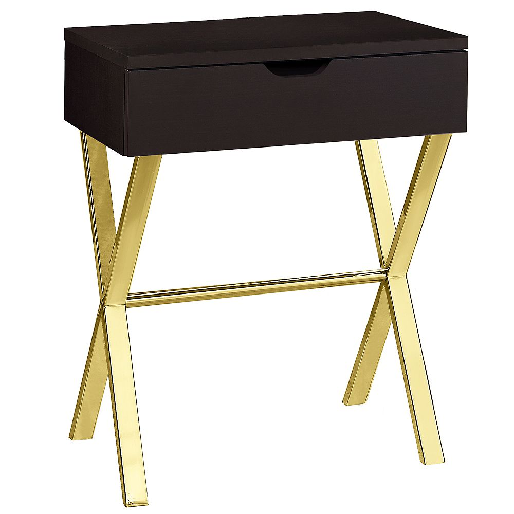 Monarch Specialties Accent Table - 24 Inch H / Cappuccino / Gold Metal