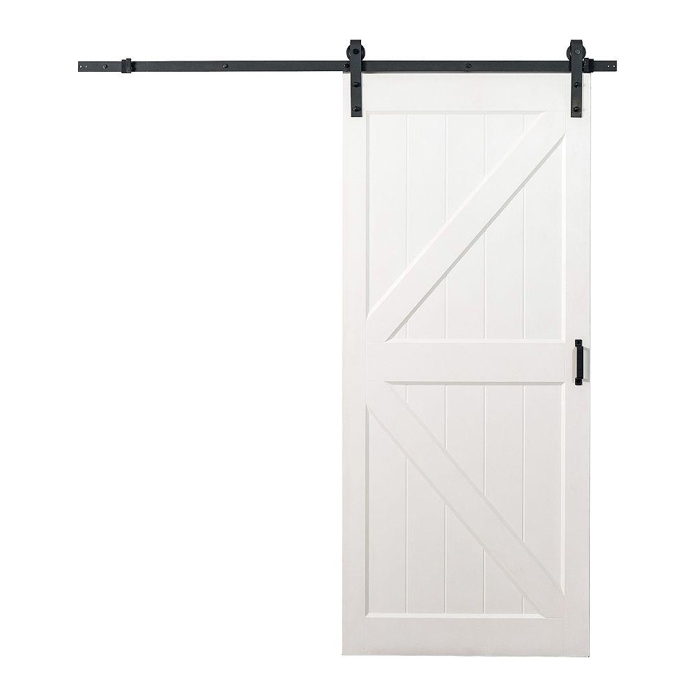 TRUporte 36-inch x 84-inch White K Design Hollow Core Rustic Barn Door with Matte Black Sliding Hardware Kit