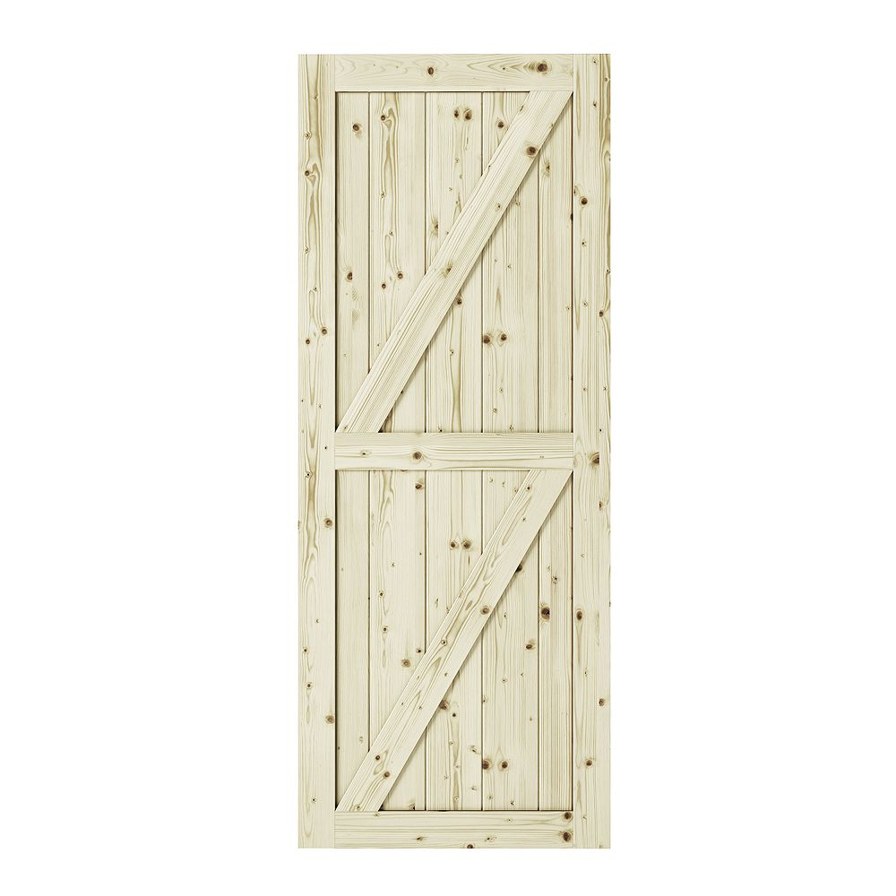 Colonial Elegance 42 inch x 84inchx1 3/8 inchFull Check Double Z  Brace Unfinished Knotty Pine Interior Barn Door Slab