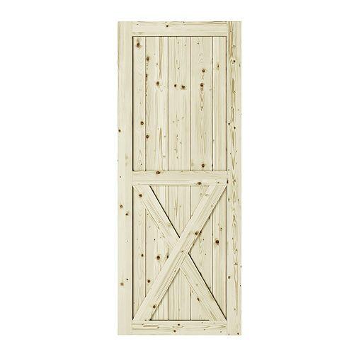 42 inch x 84 inch x1 3/8 inchHalf-Cross X Brace Unfinished Knotty Pine Interior Barn Door Slab