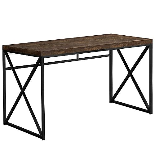 Computer Desk - 48 Inch L / Brown Reclaimed Wood / Black Metal