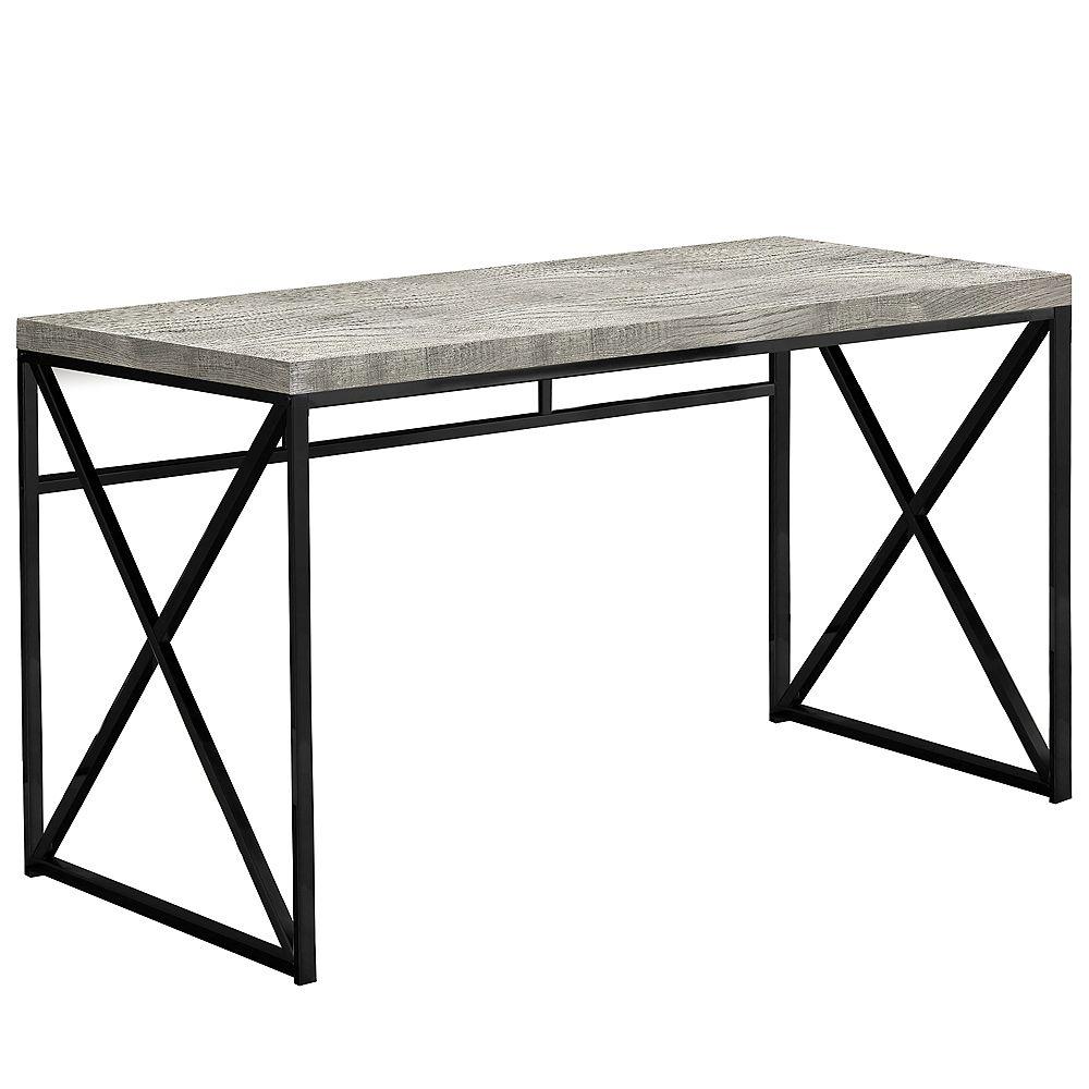 Monarch Specialties Computer Desk - 48 Inch L / Grey Reclaimed Wood / Black Metal