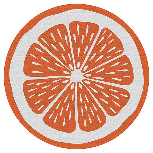 Orange 6 ft. x 6 ft. Round Polyweave Outdoor Rug
