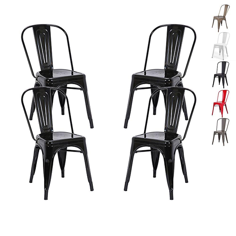 Bronte Living Chaise de salle à manger industrielle en métal à haut dossier - Noir - Lot de 4