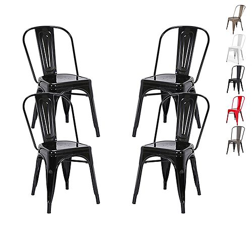 Industrial Metal Dining Chair with High Backrest - Black - Set of 4