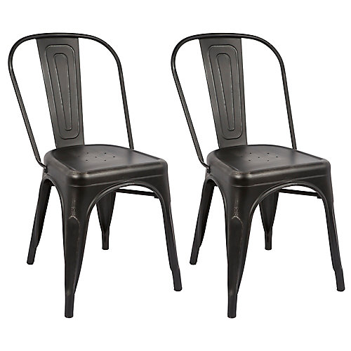 "Bronte Living 18"" Industrial Metal Chair with Back Rest - Distressed Black - Set of 2"