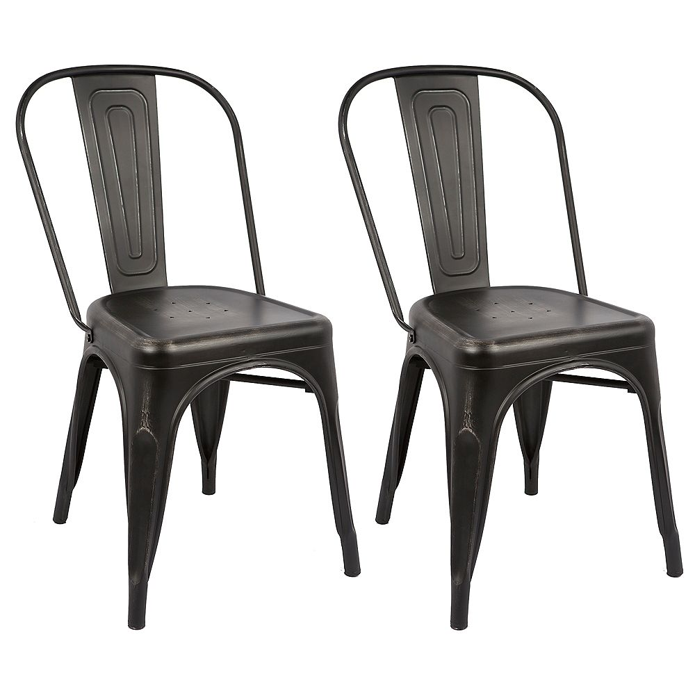 Bronte Living Industrial Metal Dining Chair with High Backrest - Distressed Black - Set of 2
