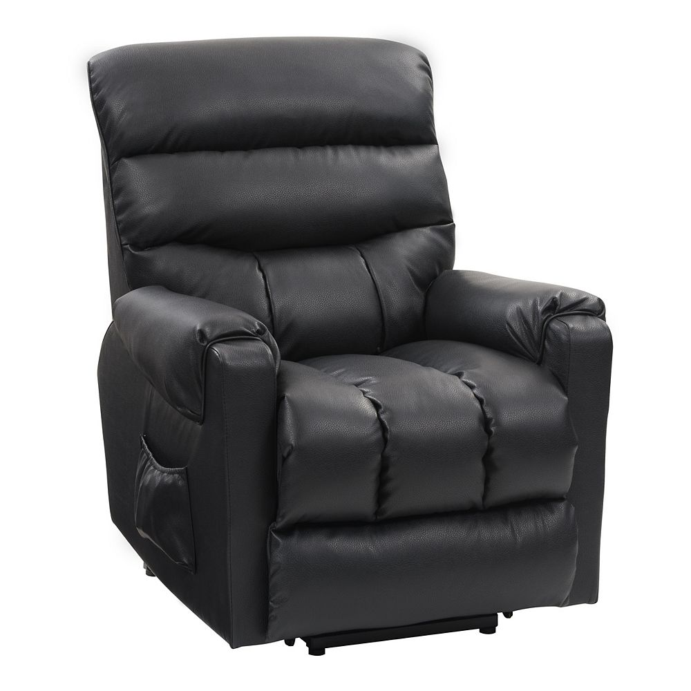 Corliving Power Lift Assist Recliner Black Leather Gel The Home Depot Canada