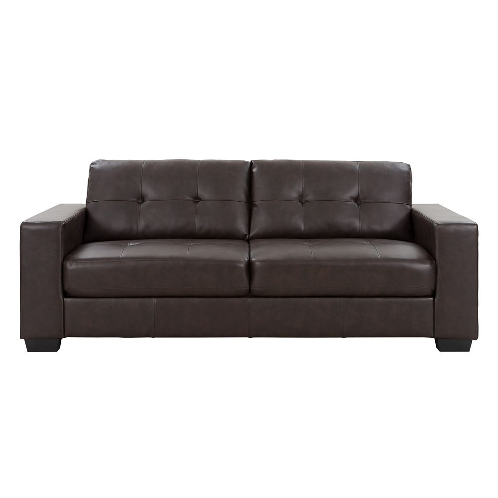 Tufted Seat and Backrest Chocolate Brown Bonded Leather Sofa