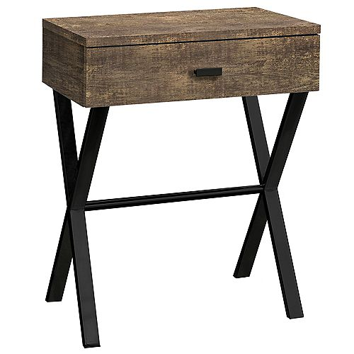Accent Table - 24 Inch H / Brown Reclaimed Wood / Black Metal