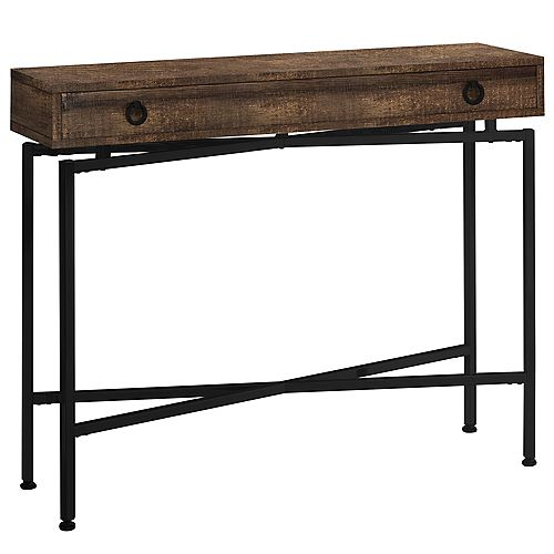 Accent Table - 42 Inch L / Brown Reclaimed Wood/ Black Console