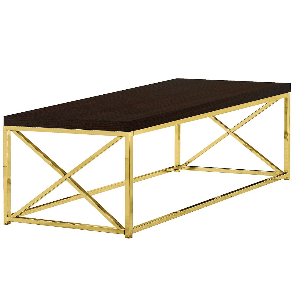 Monarch Specialties Coffee Table - Cappuccino With Gold Metal