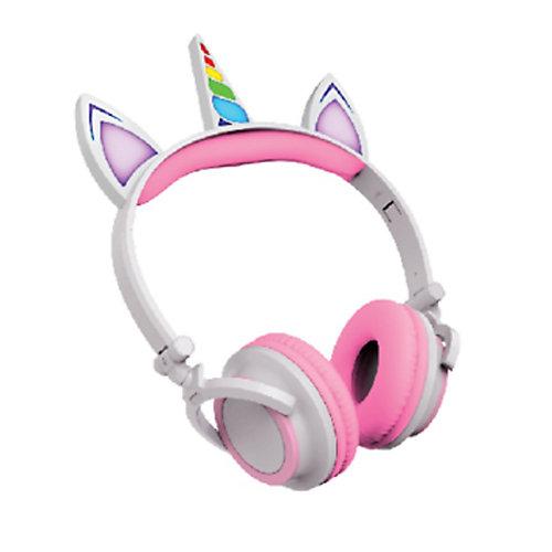 Casque d'écoute filaire de licorne avec éclairage LED, rose