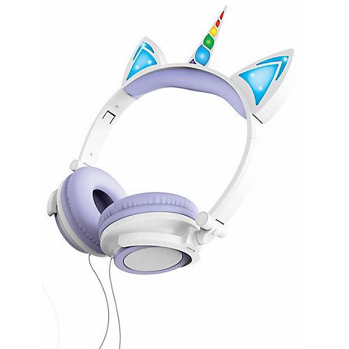 Casque d'écoute filaire de licorne avec éclairage LED, violet
