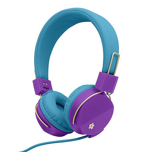 Casque d'écoute pliable éclatant de couleurs avec micro Too pour filles, Bleu