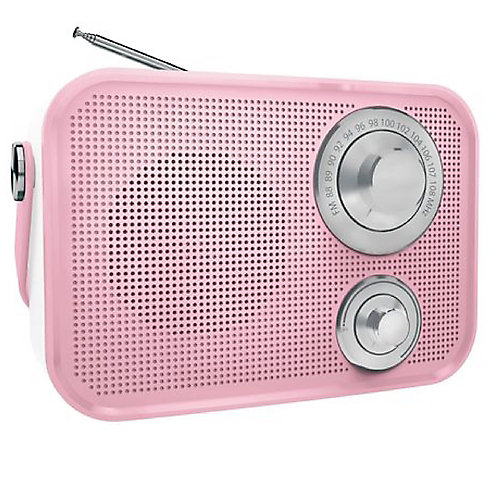 Haut-parleur Bluetooth sans fil radio FM de type rétro de - Rose