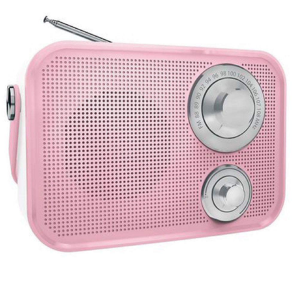 Polaroid Retro Wireless FM Radio And Bluetooth Speaker - Pink