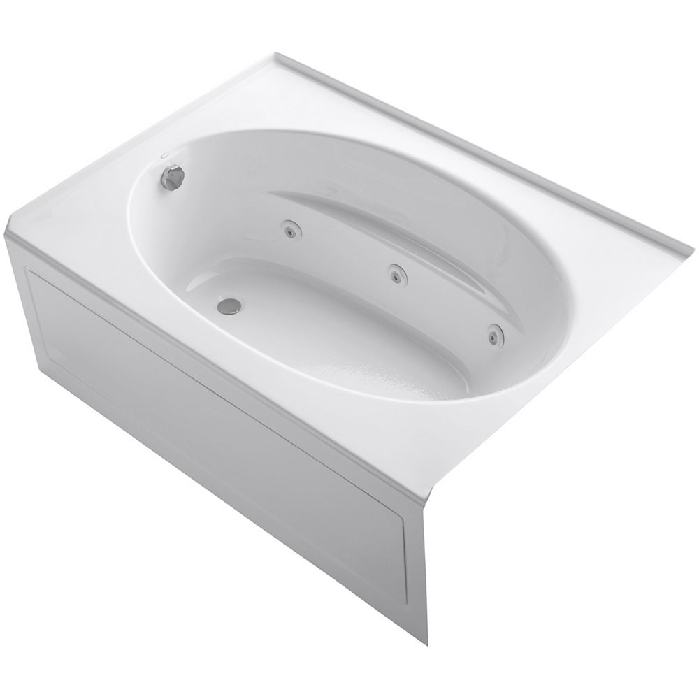 KOHLER 60 inch x 42 inch alcove whirlpool with integral apron and left-hand drain