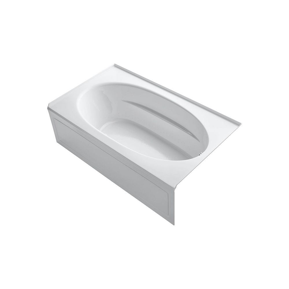 KOHLER 72 inch x 42 inch alcove BubbleMassage Air Bath with integral apron and right-hand drain