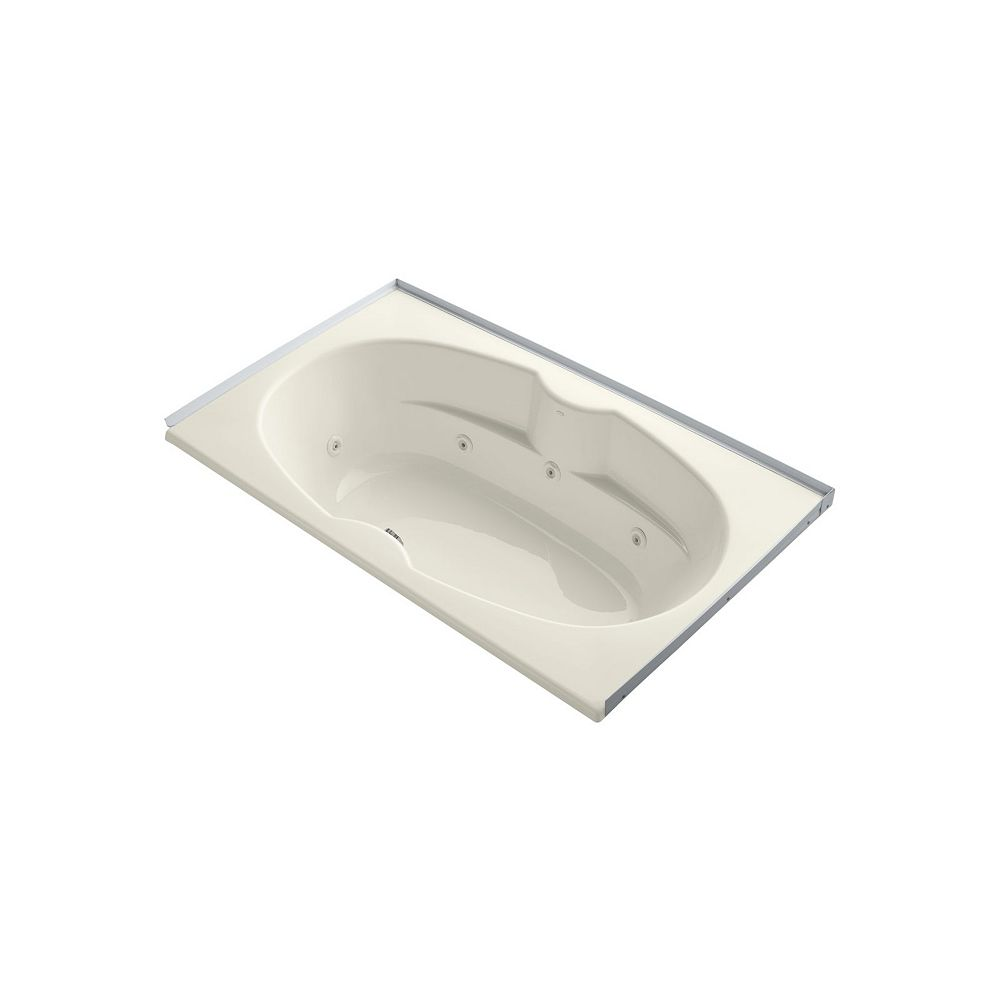 KOHLER 72 inch x 42 inch alcove whirlpool with integral flange in Biscuit