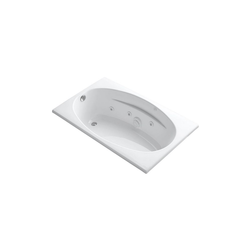 KOHLER 60 inch x 36 inch drop-in whirlpool with heater in White