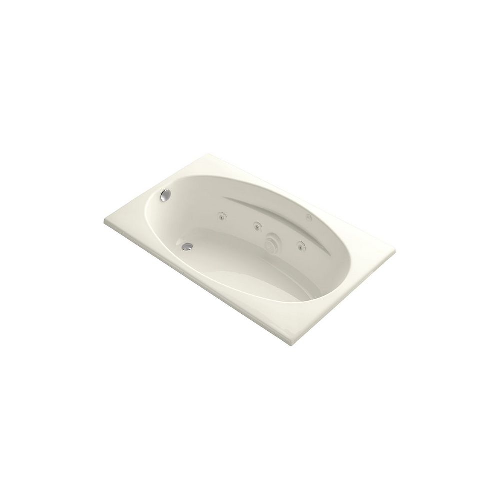 KOHLER 60 inch x 36 inch drop-in whirlpool with heater in Biscuit
