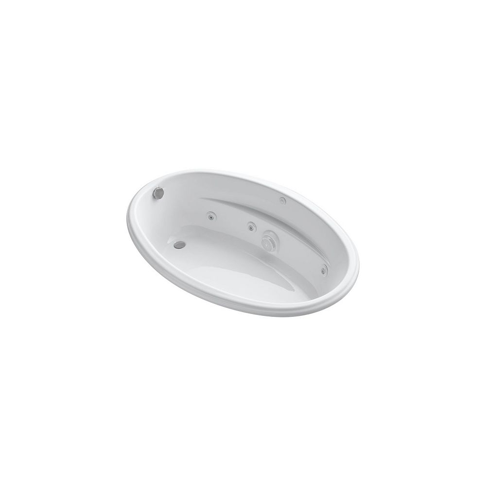 KOHLER 60 inch x 40 inch drop-in whirlpool with custom pump location in White